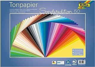 Folia Lot de 50 Feuilles de Papier Kraft 67/50 99 - Environ 50 x 70 cm - 130 g/m² - 50 Couleurs - pour Bricolage et créati...