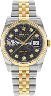 Rolex Oyster Perpetual Datejust 36 Black Set with Diamonds Dial Stainless Steel and 18K Yellow Gold