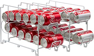 Sorbus 2-Tier Soda Can Rack Beverage Dispenser – Stackable Organizer Dispenses 24 Standard 12oz Soda Cans, Canned Food Dispensers for Refrigerator, Countertop, Pantry (Stackable Can Rack - White)