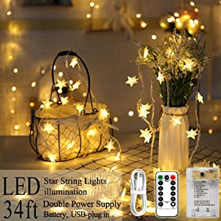 POP Mart Star Lights 80 LED Star Christmas Lights 34FT Twinkle Fairy String Lights USB Battery Operated Waterproof Star Decoration for Indoor Outdoor Bedroom 8 Modes Remote Control Warm White