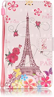 SEYCPHE Samsung Galaxy A5 2016 Case,3D visual Leather wallet flip case magnetic protective cover with shockproof TPU,Card Slots Protective Cover for Samsung Galaxy A5 2016 - Butterfly Eiffel Tower