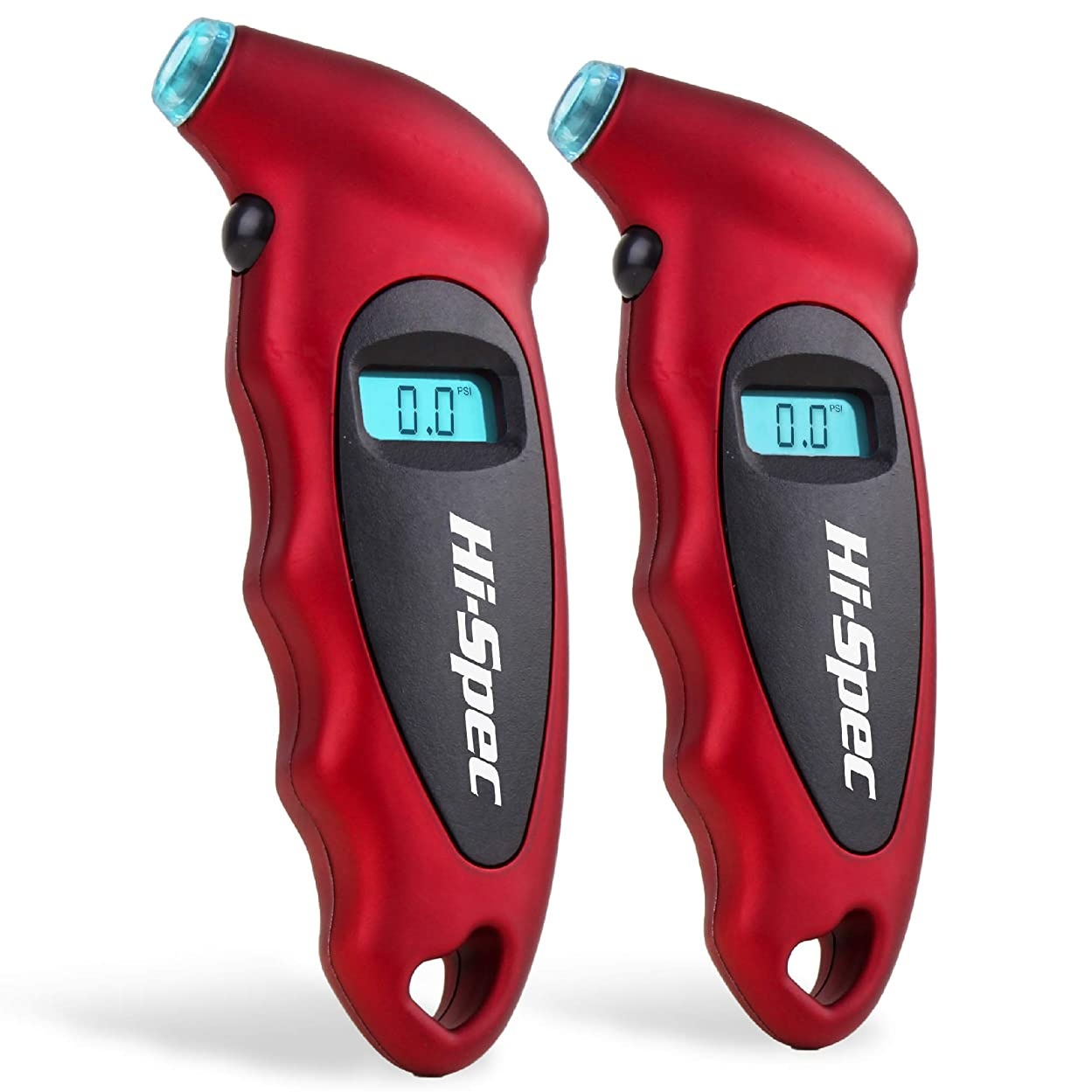 Hi-Spec Digital Tire Air Pressure Gauge with Nozzle Light, max 150 PSI - 4 Units: PSI, BAR, KPA, Kg/cm2, LCD Display and Auto Shutoff for Cars, Bike Motorbikes, Trucks, Tyre Tool Tester Checker - 2 pk et70380966608