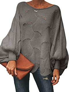 Msikiver Womens Off Shoulder Pullover Sweater Loose Batwing Sleeve Crochet Hollow Out Knit Jumper Cape Grey