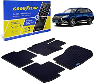 Goodyear Custom Fit Car Floor Liners for Mitsubishi Outlander 2014-2020, Black/Black 5 Pc. Set, All-Weather Diamond Shape ...