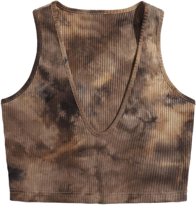 SheIn Women's Deep V Neck Sleeveless Crop Tank Tops Rib Knit Tie Dye Vest