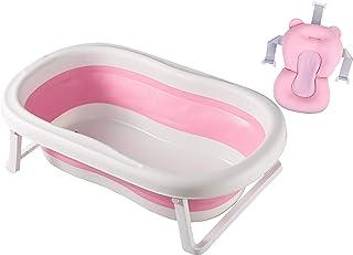 Baby Bath Tub for Girls, Pink Toddler Foldable Bathtub Infant Shower Basin with Pink Bathing net