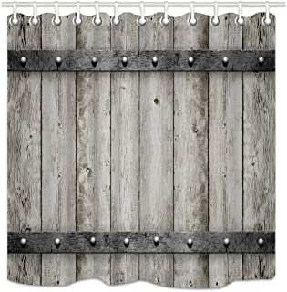 DYNH Rustic Barn Door Shower Curtain Wooden, Wood with Metal Texture Western Country Theme House Decor, Fabric Bathroom Decor, Bath Curtains Accessories, with Hooks, 69X70 Inches