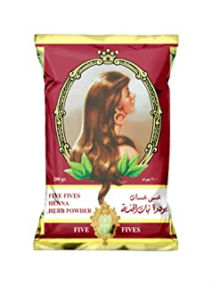 حنة شعر طبيعية بودرة من خمس خمسات، بني - 200 جم