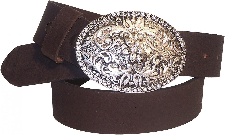 FRONHOFER Genuine natural leather belt   floral rhinestone buckle   Women's belt, color Mocha, Size waist size 29.5 IN S EU 75 cm