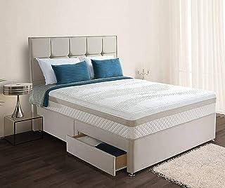 Sommier en daim + tête de lit de 137 cm + matelas à ressorts hélicoïdaux à mémoire de forme Royal (Super King size 1,8 m –...