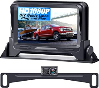 Rohent R1 HD 1080P Backup Camera and Monitor Kit 2021 Version Two Channels License Plate Hitch Camera for Cars Trucks SUVs...