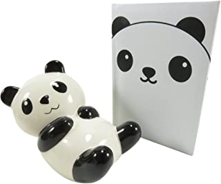 Adorable Ceramic Chillin' Panda Savings Bank and Panda Pocket Notebook Journal Diary (2 Piece Set)