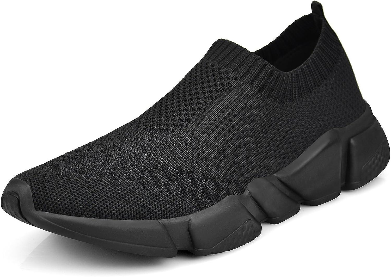 ZOCAVIA Womens Slip On Sneaker Mesh Loafer Casual Beach Street Sports Walking shoes, All Black, 9.5 B(M) US