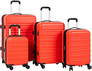 Expandable ABS Luggage Sets TSA Lightweight Durable Spinner Suitcase, 4PCS Orange Red