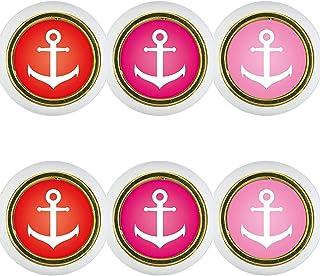 Kunststoff Möbelknopf Möbelgriff Möbelknauf Set 6xKST06494W Stern rosa