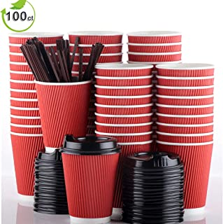 12oz Paper Coffee Cups With Lids and Straws, 100 Pcs Bulex Disposable To Go Coffee Cups Red Paper Cups for Hot Beverages