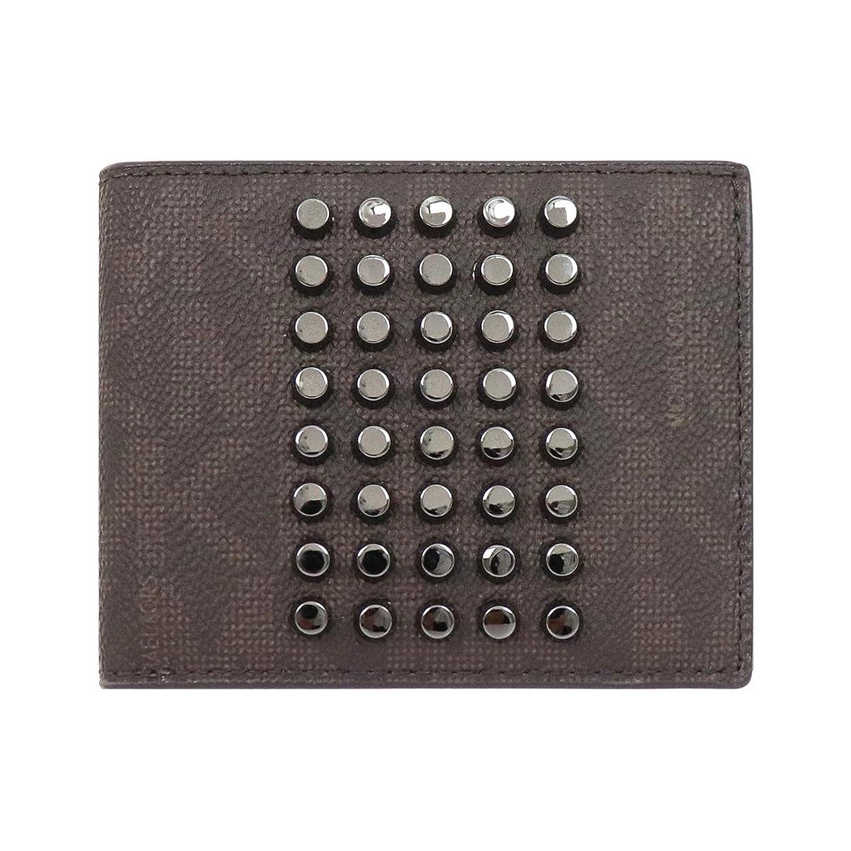 [マイケルコース] MICHAEL KORS 財布 (二つ折り財布) 36T7LMNF5V ブラウン BROWN シグネチャー スタッズ 二つ折り財布 メンズ [アウトレット品] [ブランド] [並行輸入品]