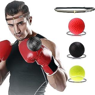 ボクシング反射ボール、ヘッドバンド付き難易度レベルのトレーニングボクシングボール3つ、スポーツトレーニングパンチファイトリアクトヘッドボール、スピードハンドアイコーディネーション、子供と大人向けのリアクションボクシングセット