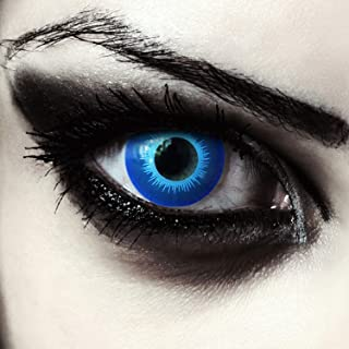 Designlenses, Ijsblauw gekleurde elf contactlenzen voor Halloween carnaval wit wandelaar kostuum, 2 stuks, zonder dioptri...