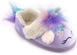 Wonder Nation Toddler Girls' Purple Unicorn Slippers (5/6)