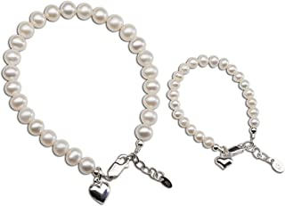 """Sterling Silver Mom and Me Cultured Pearl Matching Bracelet for Mom and Daughter""""Forever in My Heart"""" Sold as a Set or ind..."""
