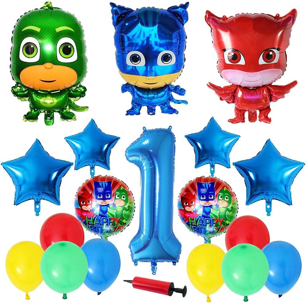 Hilloly PJ Masks Pancarta de Feliz Cumpleaños Adornos para Pastel de Juegos para Niños Adultos Decoraciones de Fiesta de Cumpleaños Suministros Decoración Kids Gift