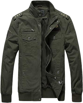 chouyatou Men's Military Stylish Zip-Front Lightweight Cotton Bomber Jacket