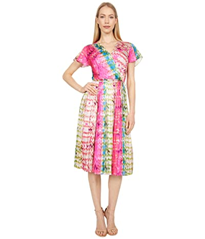 Tahari by ASL Short Sleeve Printed Surplus Neck Dress with Sunburst Pleat Skirt