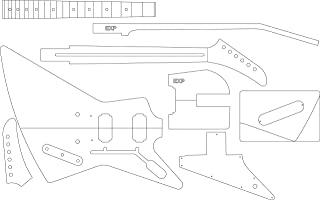 Electric Guitar Layout Template - Explorer
