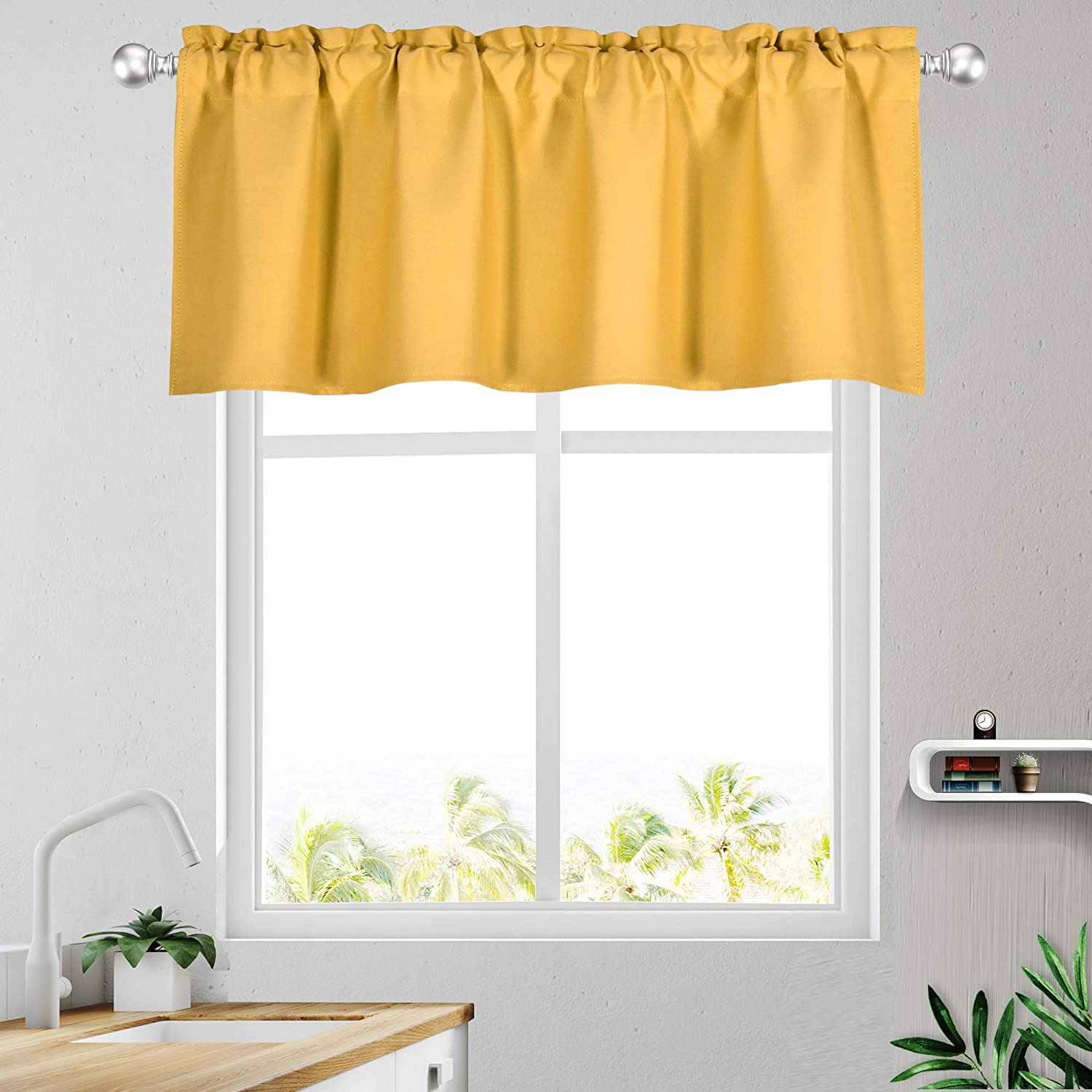 Amazon Com Keqiaosuocai Yellow Window Valance 52 Inch By 18 Inch Blackout Valance Curtains For Kitchen Bathroom 1 Panel 52w X 18l Home Kitchen