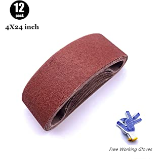 Belt Sander 4x24 Sanding Belt, Belt Sander Paper 4x24 for Knife Making, 2 Each of 60 80 120 150 240 400 Grits,12 Pack(4x24 Inch)