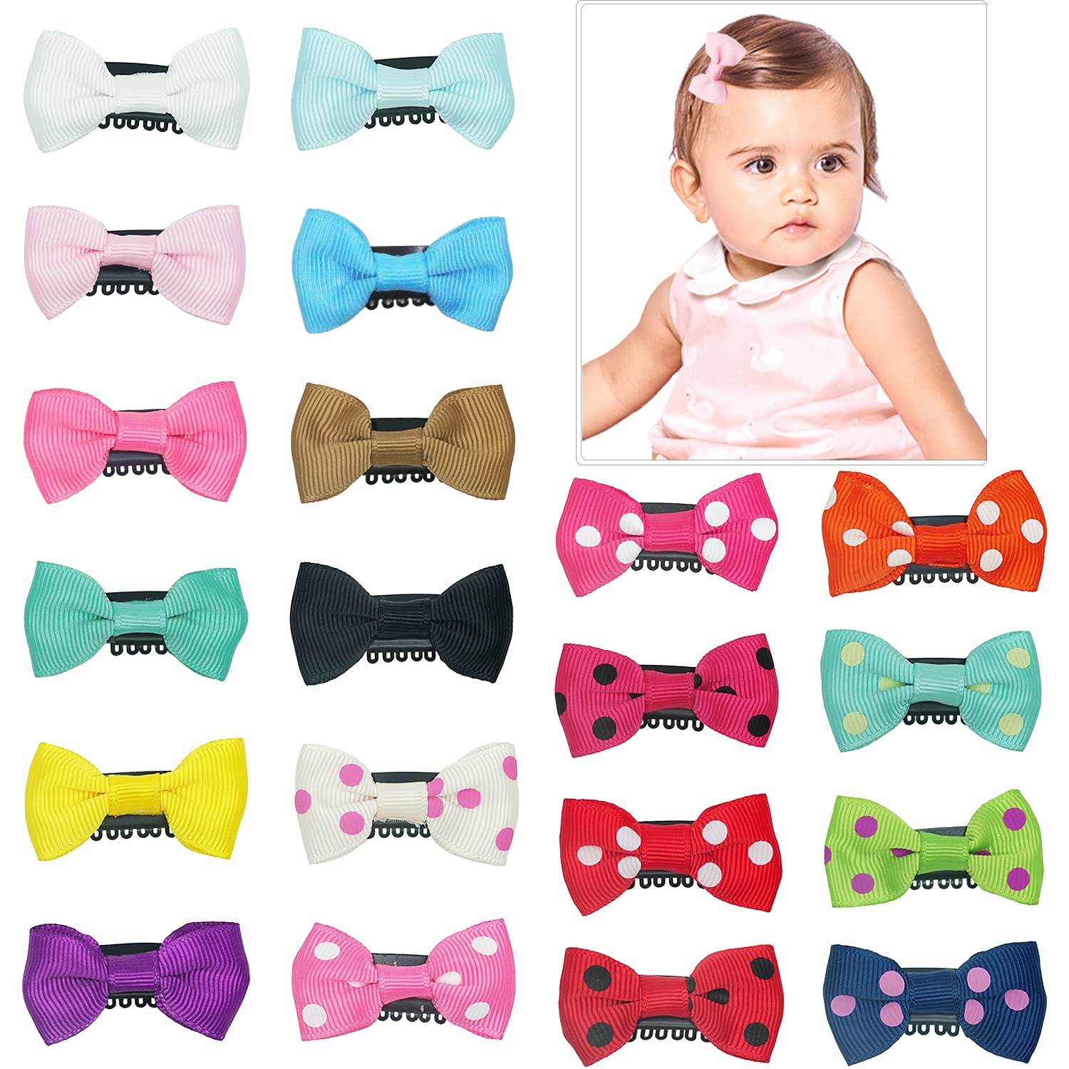 20 Pack Handmade Tiny Hair Clips for Baby Fine Hair 1.75Inch Mini Grosgrain Ribbon Hair Bows Snap Hair Clips Barrettes Hair Accessories For Baby Girls Newborn Infant Toddlers