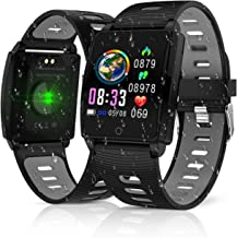 CEGAR 2019 Version Fitness Tracker, Smart Watch with Heart Rate Blood Pressure Sleep Monitor,Waterproof Pedometer Large Color Screenwith Pedometer Calorie Counter Smart Watch for Women Men (Black)