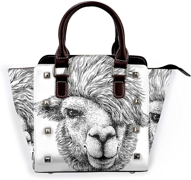 Jutdopt Black White Lama Leather Max 68% OFF Rivet Crossbody Shoulder Ha Bag Albuquerque Mall
