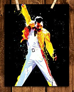 Freddie Mercury-Watercolor Art Print- 8 x 10 Wall Print- Ready To Frame- Queens Leader in Iconic Pose. Home Decor-Studio-Bar-Man Cave Decor. Perfect Inspirational Gift For All Freddie & Queen Fans.