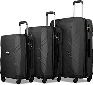 3 Piece Luggage Sets Expandable ABS Spinner Suitcase with TSA Lock 20 inch 24 inch 28 inch (Classic Black)
