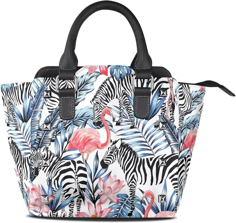 My Little Nest Women's Top Handle Satchel Handbag Pink Flamingo Zebra Ladies PU Leather Shoulder Bag Crossbody Bag