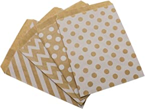 Gonioa 100 Counts Biodegradable Paper Candy Cookie Bags, Paper Treat Sacks, Candy Buffet Treat Bags for All Parties.