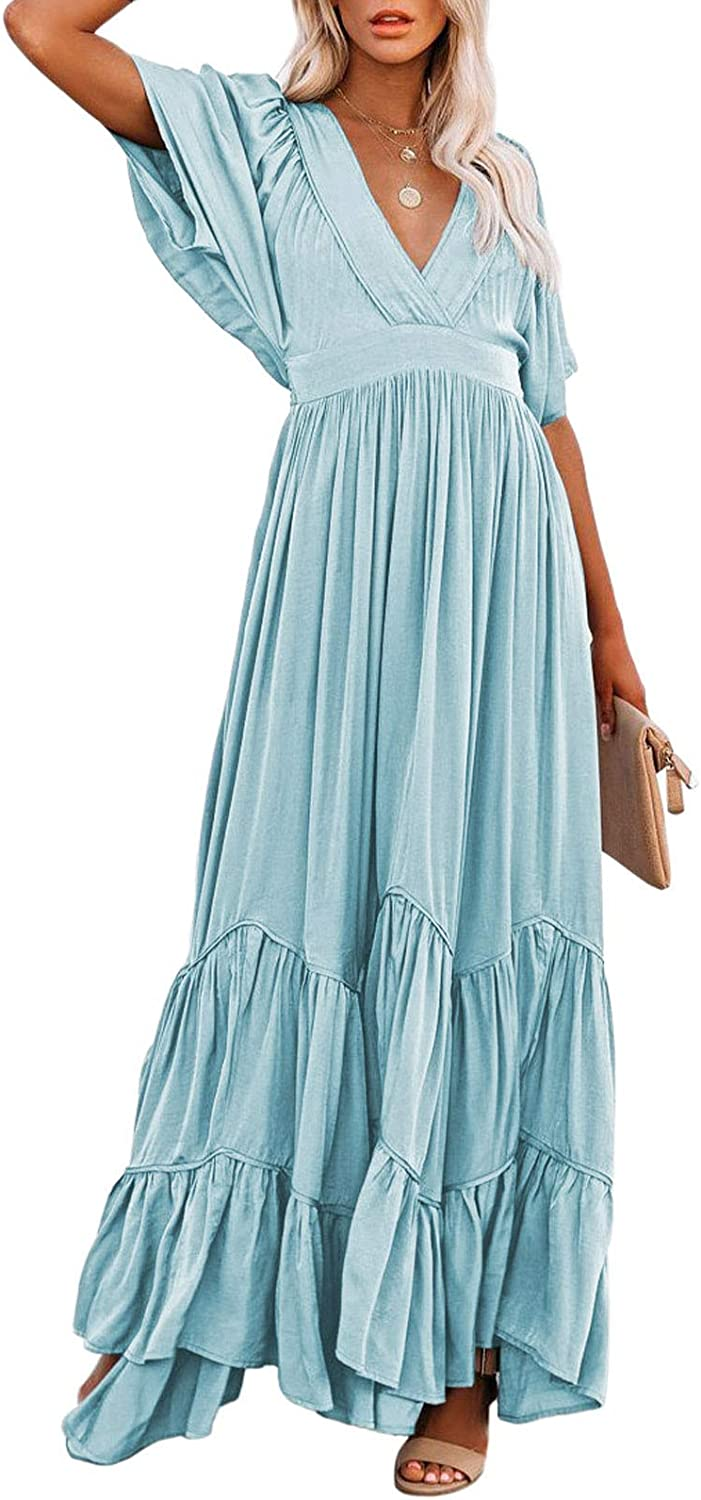 Pink Wind Women's V Neck Ruffle Flowy Maxi Dress Casual Batwing Sleeve Tiered Long Summer Dresses