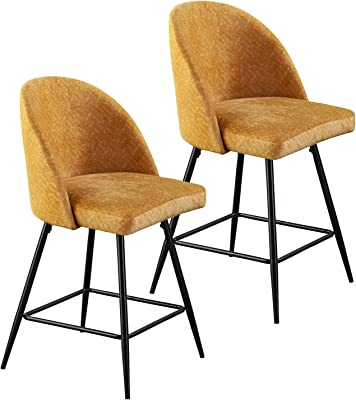 Southern Enterprises Elmton Barstools, Vintage yellow and soft black