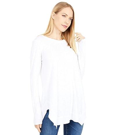 bobi Los Angeles Slubbed Jersey Rib Mix Handkerchief Tee (White) Women