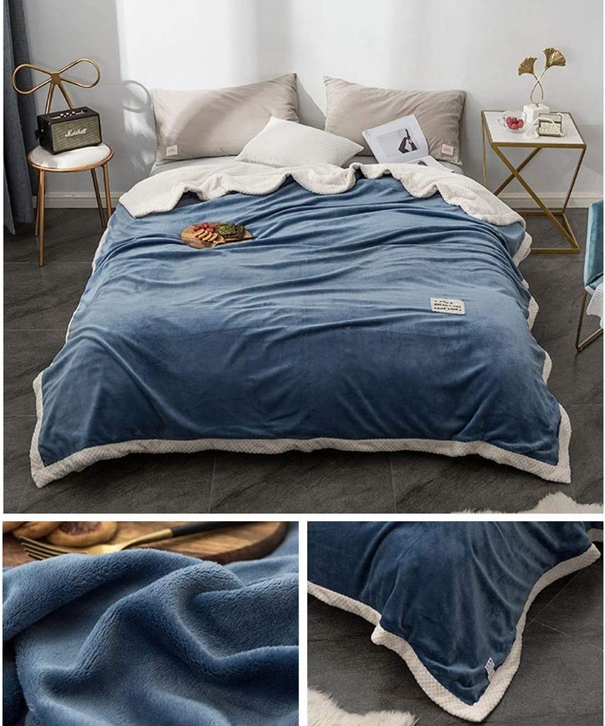 HMLIFE Bureau Nap Couverture Quilt Maison double épaisseur souple Blanket peut être Casual Lavable à la machine à billes 180 * 200cm Couvertures (Color : Dark blue) Dark Blue