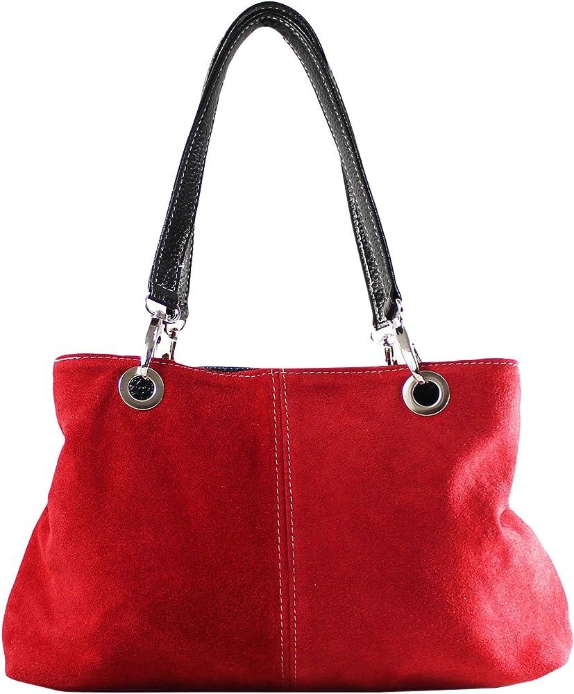 Chicca borse, borsa a mano da donna, in pelle scamosciata, rossa 10028-ROSSO