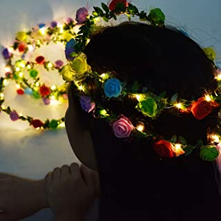 Homeleo 4 Pack Led Rose Flower Wreath Headband Light Up, Led Glowing Girl's Headdress, Fairy Led Wrap Crown Festival Tiara Floral Bohemia for Graduation Festival Wedding Christmas Halloween Party