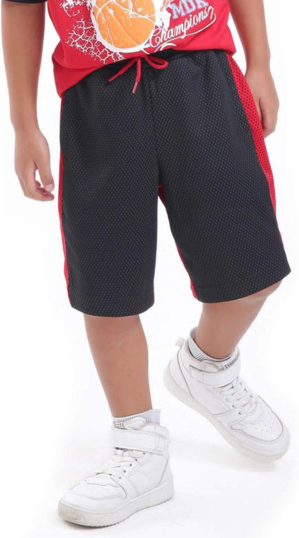 M.D.K Boys Double Knit Contrast Side Stripe Mesh Athletic Exercise Shorts