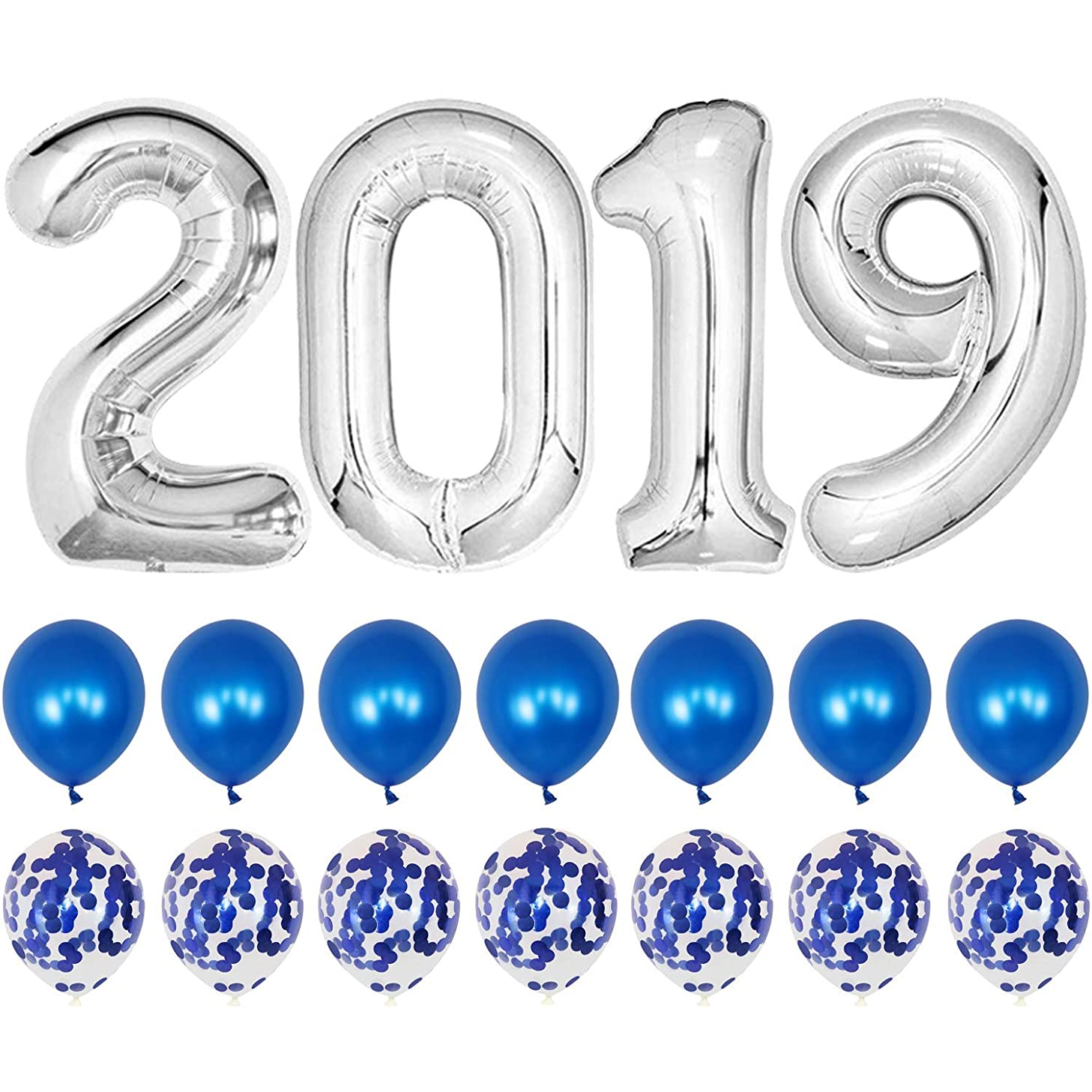 2019 Graduation Balloons-40Inch 2019 Foil Balloons with Black Red Latex Balloons/Confetti Balloons-Pack of 26,for Class of 2019 Graduation Decorations (Silver with Blue)