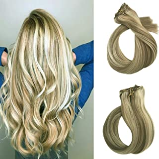Clip in Hair Extensions Human Hair 15 inch Beige Blond with Blonde highlights Dip Dyed Ombre Balayage 70g Full Head Straight Soft Extension Clip on 18/613