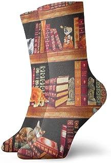 Calcetines para hombre, para mujer, calcetines, gatos, estantes de libros, libros apilados, calcetín deportivo, cojín anti olor, medias de arranque cortas