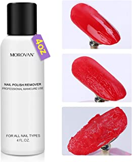 Professional Nail Gel Remover - Rose Formula - Morovan Nail Polish Remover Non-Acetone Liquid Moisturizing Conditioner Ess...