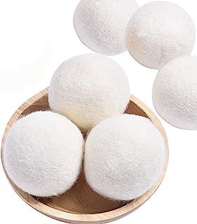 Wool Dryer Balls Organic, 6 Pack XL Natural Fabric Softener 100% New Zealand Wool, Chemical Free Eco Wool Dryer Balls Laundry, Handmade Reusable Balls Reduce Wrinkles & Shorten Drying Time